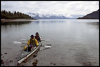 Kayakers land in Hugh Miller Inlet. Glacier Bay National Park, Alaska (color)