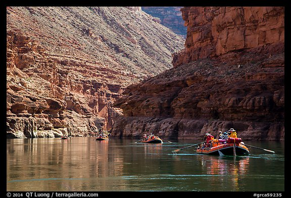 Water-level view of  rafts in Marble Canyon. Grand Canyon National Park, Arizona (color)