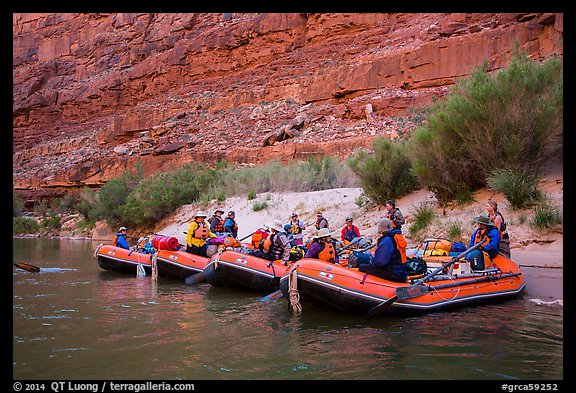 Beached rafts, Marble Canyon. Grand Canyon National Park, Arizona (color)