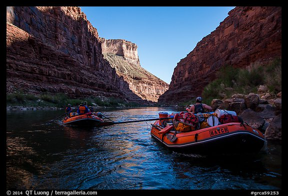 Rafts and reflections on river, Marble Canyon. Grand Canyon National Park, Arizona (color)