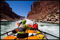 Raft riding rapids below Indian Dick. Grand Canyon National Park, Arizona ( color)