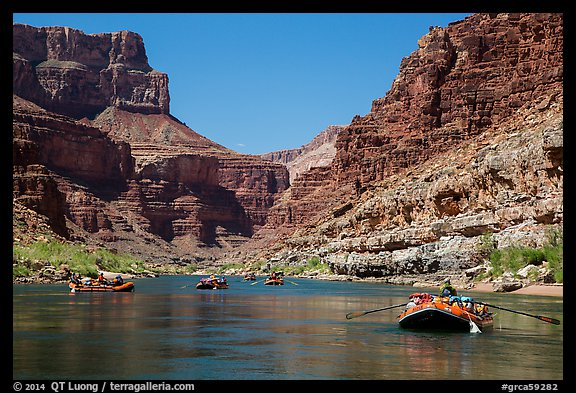 Rafts on placid stretch of Colorado River. Grand Canyon National Park, Arizona (color)