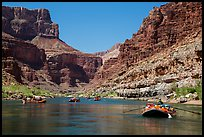Rafts on placid stretch of Colorado River. Grand Canyon National Park, Arizona ( color)