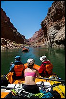 Rafting calm stretch of Colorado River. Grand Canyon National Park, Arizona ( color)