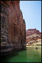 redwall limestone cliff dropping straight into Colorado River. Grand Canyon National Park, Arizona ( color)