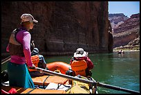 On raft passing below redwall limestone cliff. Grand Canyon National Park, Arizona ( color)