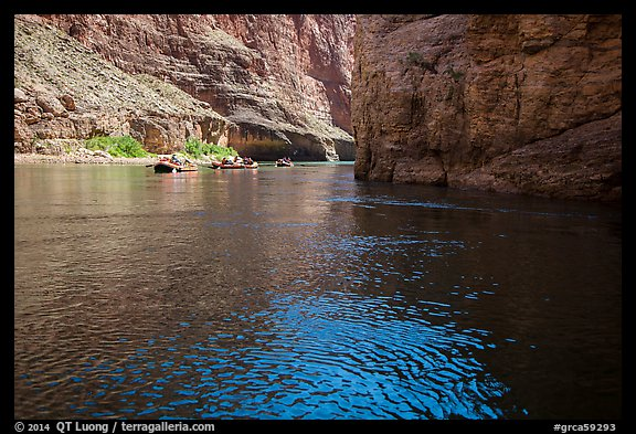 Rafts and Redwall limestone canyon walls in Marble Canyon. Grand Canyon National Park, Arizona (color)
