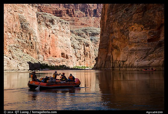 River-level view of raft, shadows, and cliffs, Marble Canyon. Grand Canyon National Park, Arizona (color)