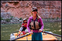 River guide rowing oar raft in narrow canyon. Grand Canyon National Park, Arizona ( color)