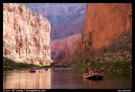 Rafters and towering steep cliffs in  Marble Canyon, early morning. Grand Canyon National Park, Arizona (color)