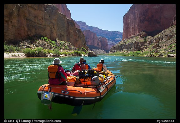 Close view of raft on calm Colorado River. Grand Canyon National Park, Arizona (color)