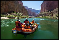 Close view of raft on calm Colorado River. Grand Canyon National Park, Arizona ( color)