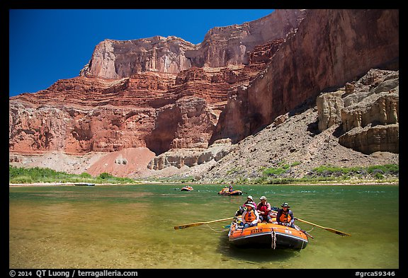 Rafts and Nankoweap cliffs. Grand Canyon National Park, Arizona (color)