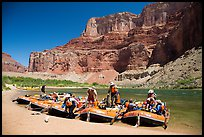 Rafts on beach below Nankoweap cliffs. Grand Canyon National Park, Arizona ( color)
