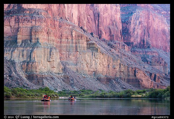 Rafts dwarfed by cliffs above the Colorado River. Grand Canyon National Park, Arizona (color)