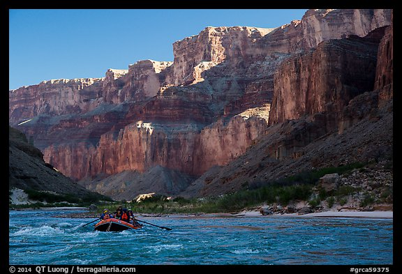 Raft below cliffs in the shade, Marble Canyon. Grand Canyon National Park, Arizona (color)