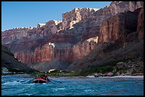 Raft below cliffs in the shade, Marble Canyon. Grand Canyon National Park, Arizona ( color)