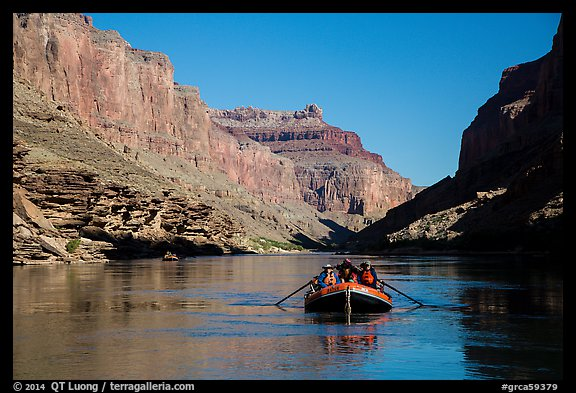 Raft in blue Colorado River. Grand Canyon National Park, Arizona (color)
