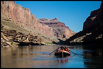 Raft in blue Colorado River. Grand Canyon National Park, Arizona ( color)