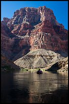 Raft below towering butte. Grand Canyon National Park, Arizona ( color)