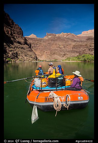 Oar-powered raft on calm stretch of the Colorado River. Grand Canyon National Park, Arizona (color)
