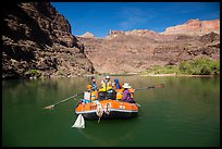 Oar-powered raft on tranquil section of the Colorado River. Grand Canyon National Park, Arizona ( color)