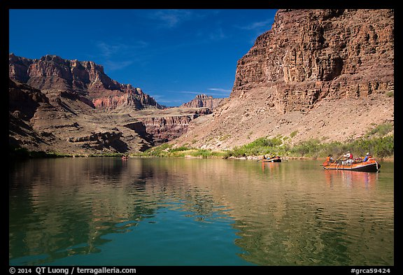 Oar-powered rafts and cliff reflections. Grand Canyon National Park, Arizona (color)