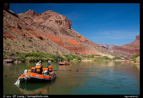 Rafts in colorful section of Grand Canyon. Grand Canyon National Park, Arizona (color)