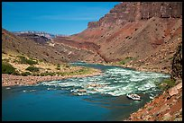 Raft entering Hance Rapids. Grand Canyon National Park, Arizona ( color)