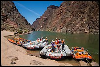 Oar-powered and motor-powered rafts at beach. Grand Canyon National Park, Arizona ( color)