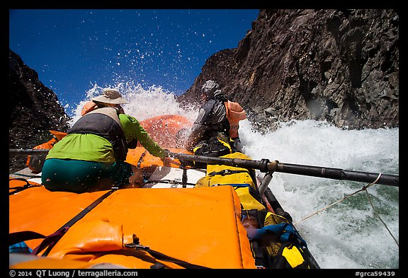 Oar-powered raft in whitewater rapids. Grand Canyon National Park, Arizona (color)