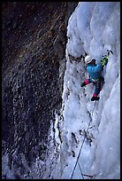 Philippe leads in the Bourdoux falls. Alps, France (color)