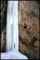 Rappeling from an ice climb in Rifle Canyon, Colorado. USA