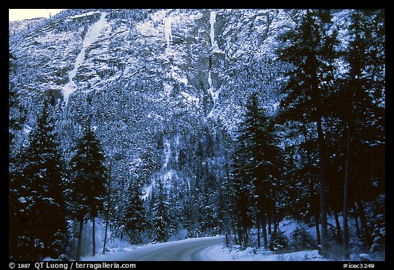 Bridge River area, near Lilloet. The line on the left is The Gift, one of the harder additions to the area, first climbed during Christmas 95. The line on the right, even more obvious and dramatic (but clearly not as fat) was revealed to me by Eric Hirst through e-mail. Lilloet, British Columbia, Canada (color)