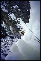 Higher, the fourth pitch ends up with an airy traverse. Lilloet, British Columbia, Canada (color)