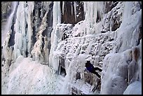 Rappeling from an ice climb in Provo Canyon, Utah