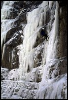 Rappeling from an ice climb in Provo Canyon, Utah. USA