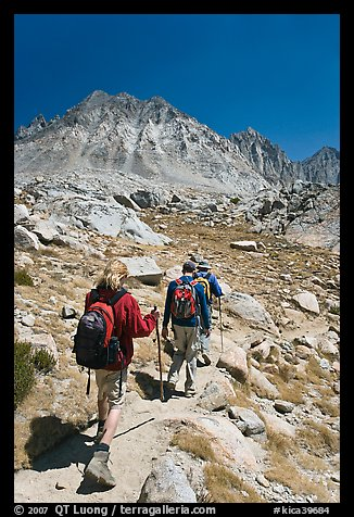 Hikers on trail, Dusy Basin. Kings Canyon National Park, California (color)
