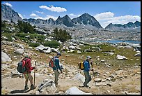 Hiking on trail, Dusy Basin. Kings Canyon National Park, California (color)