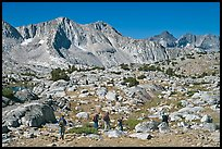 Hikers in Dusy Basin, morning. Kings Canyon National Park, California (color)