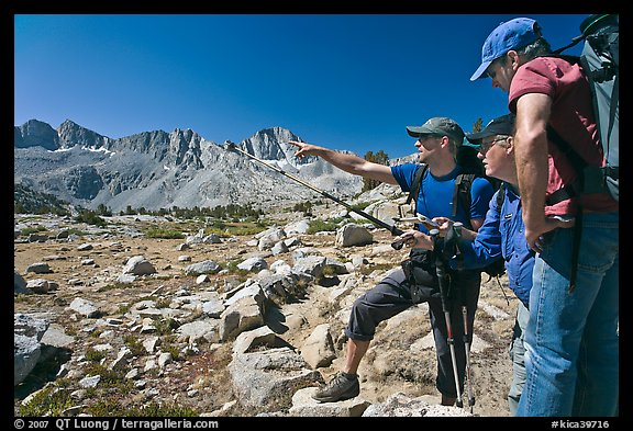 Hikers pointing, Dusy Basin. Kings Canyon National Park, California (color)