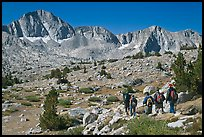Hikers on alpine terrain and Mt Giraud range, Dusy Basin. Kings Canyon National Park, California