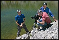 Cameramen filming near lake, lower Dusy Basin. Kings Canyon National Park, California (color)