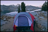 Tent and lake, dawn, Dusy Basin. Kings Canyon National Park, California