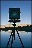 Large format camera with inverted image of mountain landscape on ground glass, Dusy Basin. Kings Canyon National Park, California (color)