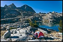 Breaking camp near lake, Dusy Basin. Kings Canyon National Park, California