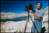 [photo by Buddy Squires] Large format photographer with camera, Dusy Basin. Kings Canyon National Park, California