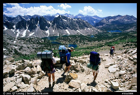 Backpackers below Kearsarge Pass. Kings Canyon National Park, California (color)
