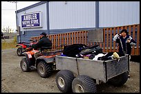 Gear transported in a trailer in the Eskimo village of Ambler. Kobuk Valley National Park, Alaska (color)