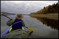 Paddling in the calm waters of the Kobuk River. Kobuk Valley National Park, Alaska